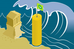 Banks versus gold: bank as a sandcastle and pillar of gold coins
