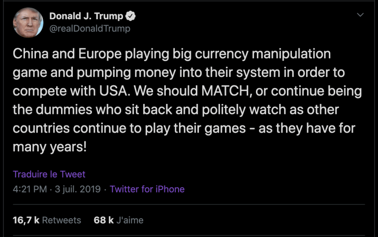 Trump's tweet about currency manipulation