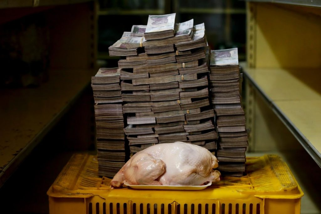 Chicken next to a pile of bank notes